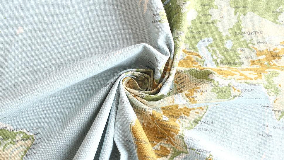 Tissu en coton mélangé bleu-vert clair: carte du monde - 140 cm dans la mercerie Makerist - Image 4