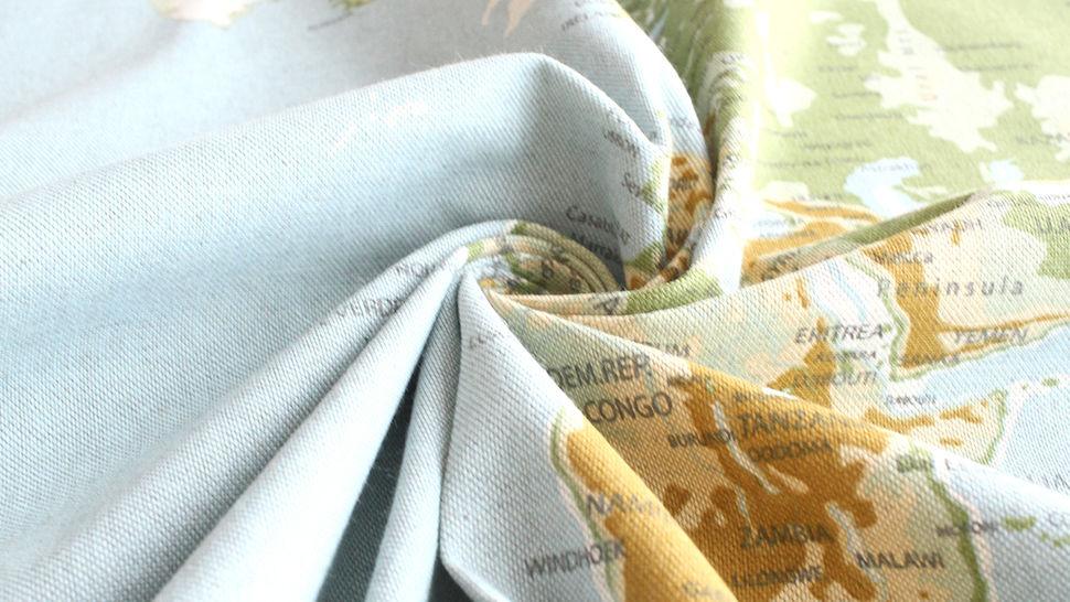 Tissu en coton mélangé bleu-vert clair: carte du monde - 140 cm dans la mercerie Makerist - Image 5
