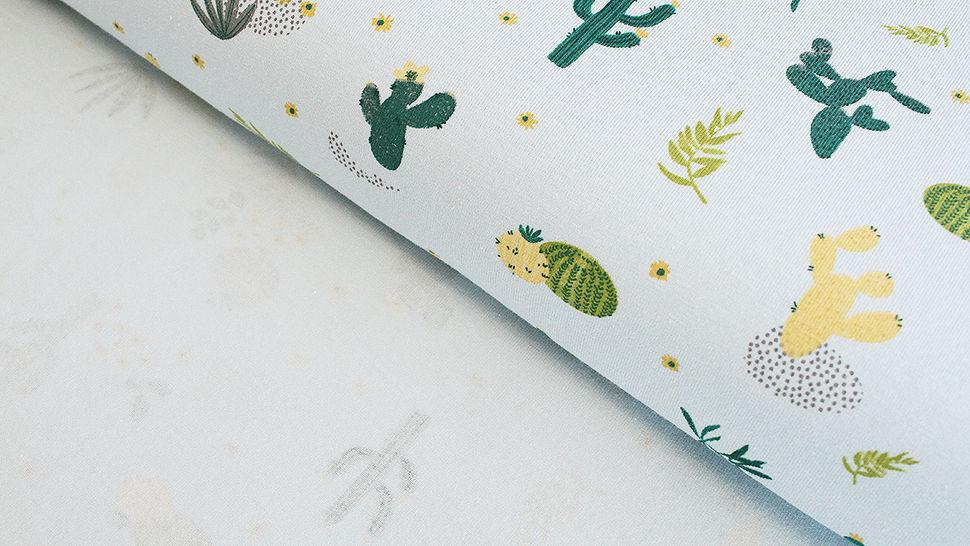 Baumwolljersey mint: Kaktuswüste - 145 cm im Makerist Materialshop - Bild 2
