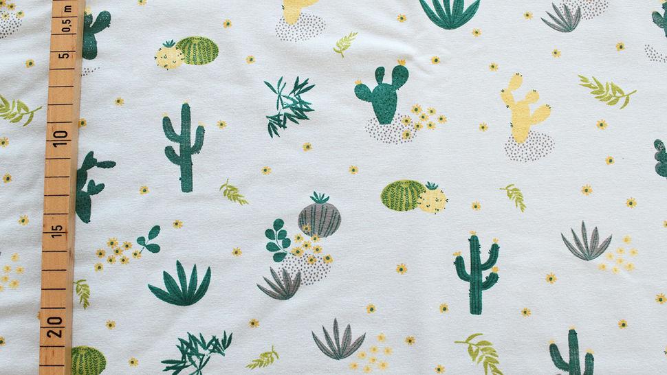 Baumwolljersey mint: Kaktuswüste - 145 cm im Makerist Materialshop - Bild 3