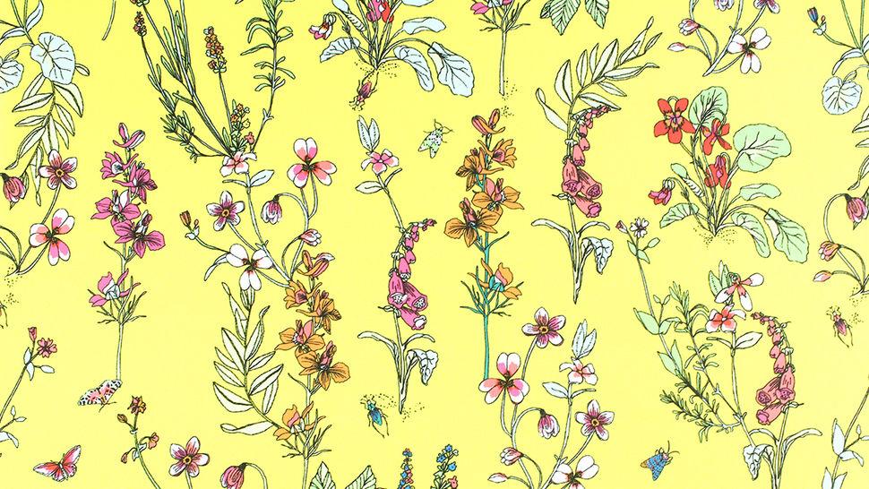 Bademodenstoff neongelb: Wildblumen - 155 cm im Makerist Materialshop - Bild 3