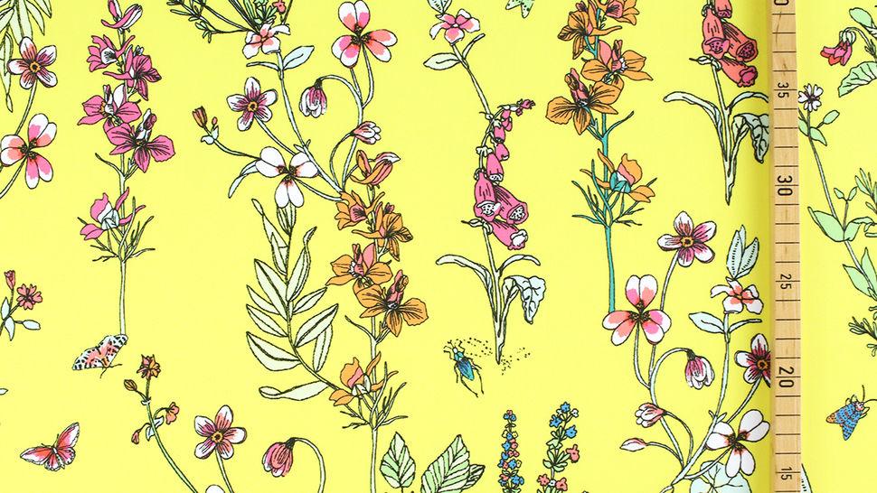 Bademodenstoff neongelb: Wildblumen - 155 cm im Makerist Materialshop - Bild 4