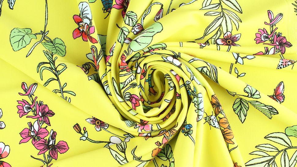 Bademodenstoff neongelb: Wildblumen - 155 cm im Makerist Materialshop - Bild 5