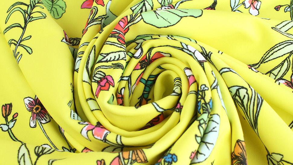 Bademodenstoff neongelb: Wildblumen - 155 cm im Makerist Materialshop - Bild 6