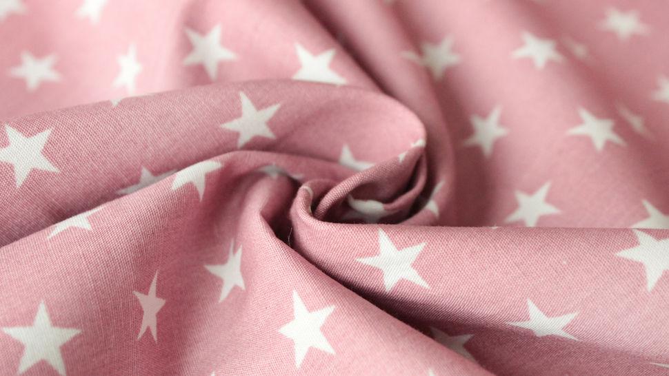 Baumwollstoff altrosa-weiß bedruckt: Stars - 150 cm im Makerist Materialshop - Bild 3