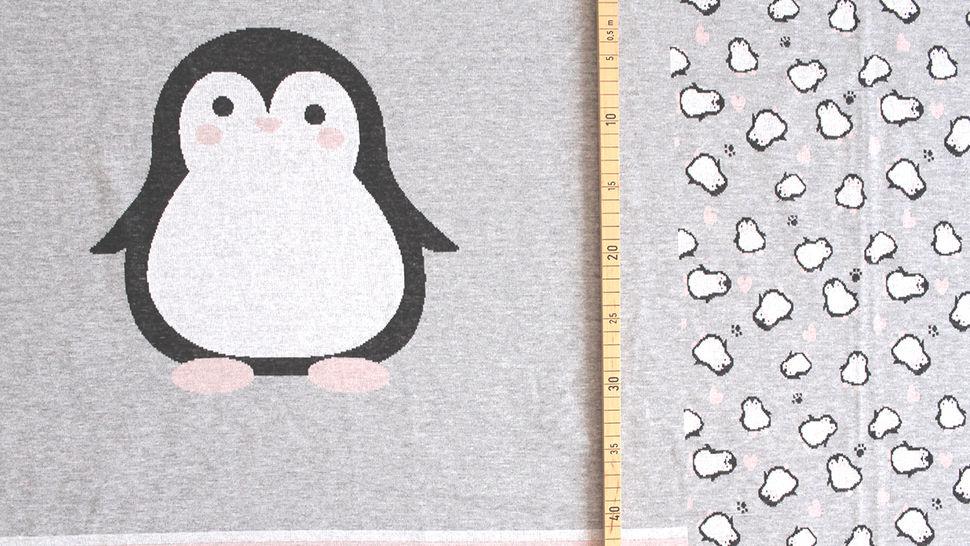 Jacquardstoff Rapport grau: Pinguin - 150 cm im Makerist Materialshop - Bild 4