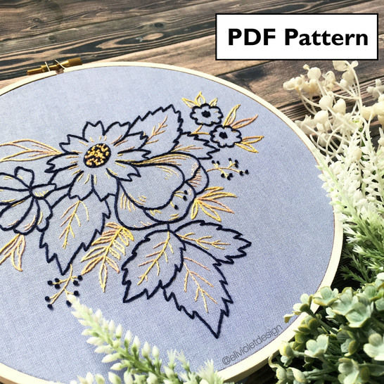 Spring Wildflowers Hand Embroidery Pattern