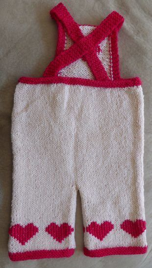 Baby bib and braces overalls with heart motifs - Juliet