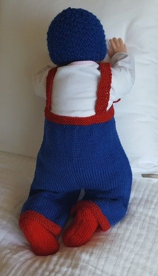 Bib and braces overalls for baby with boat motifs - Jack