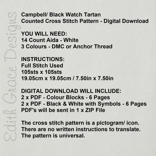 Campbell Tartan Square Embroidery Pattern