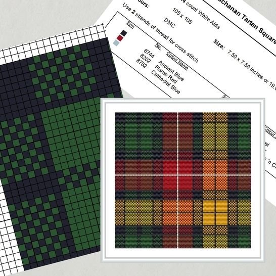 Buchanan Tartan Square Embroidery Pattern