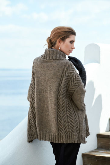 Andor Cable Oversized Poncho One Size PDF Knitting Pattern