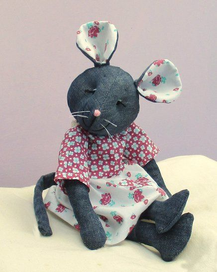 Raggedy Mouse soft toy sewing pattern.  Recycle denims.
