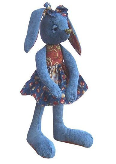 Raggedy Rabbit soft toy sewing pattern - recycle denims