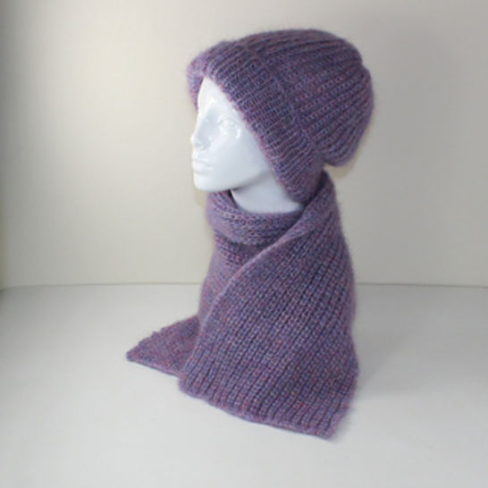 Angel Fishermans Rib Slouch hat and Scarf Set