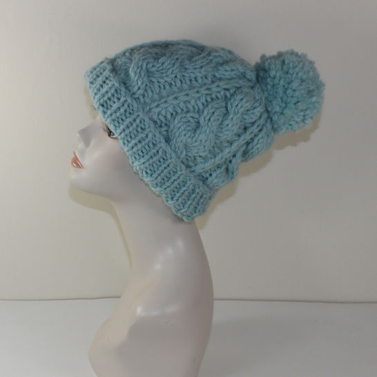 Super Chunky Cable Bobble Beanie Hat