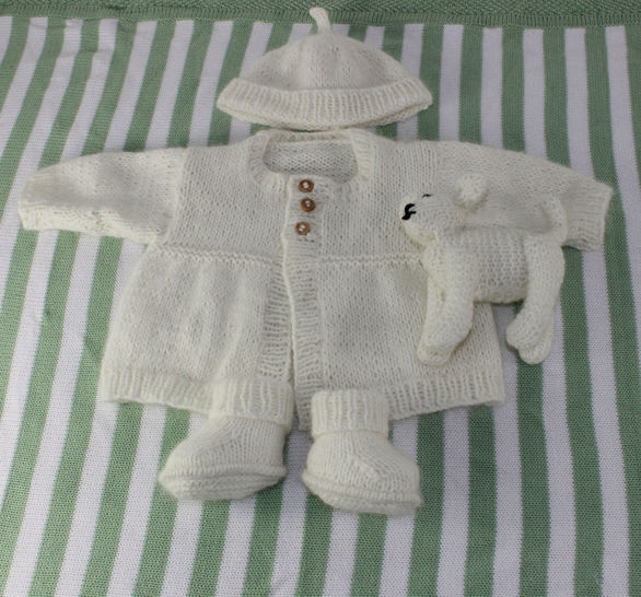 New Baby Matinee Coat,Booties,Beanie &Toy  Lamb