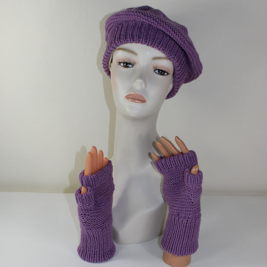 Garter Stitch Beret and Fingerless Gloves