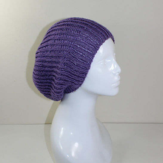 Unisex Fishermans Rib Slouch Hat CIRCULAR knitting pattern