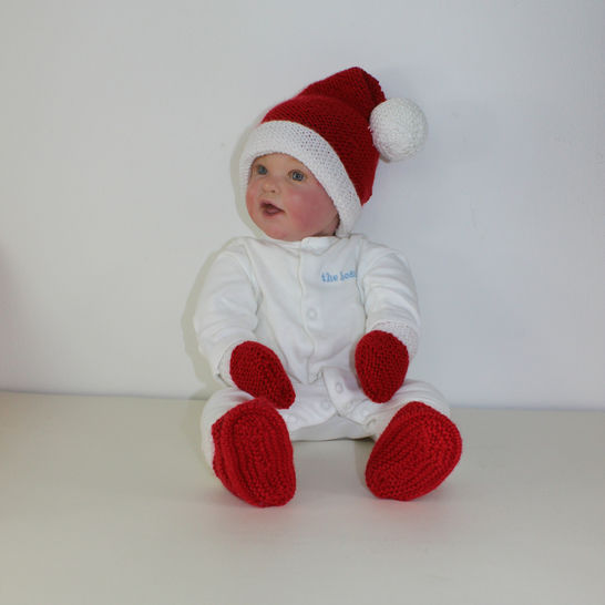 Baby Santa Hat Booties and Mittens