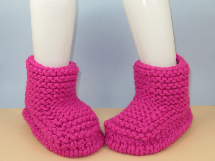 Super Chunky Simple Garter Stitch Ankle Boots