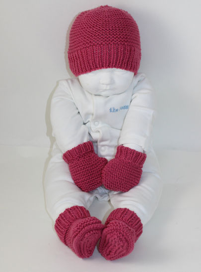 New Baby Booties Beanie and Mittens Set
