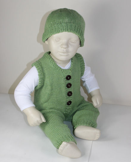 Baby Dungarees and Beanie Hat
