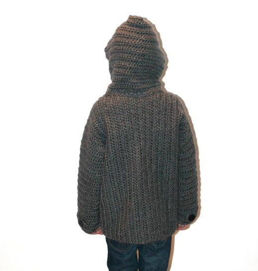 childrens jacket in 5 different sizes crochet pattern