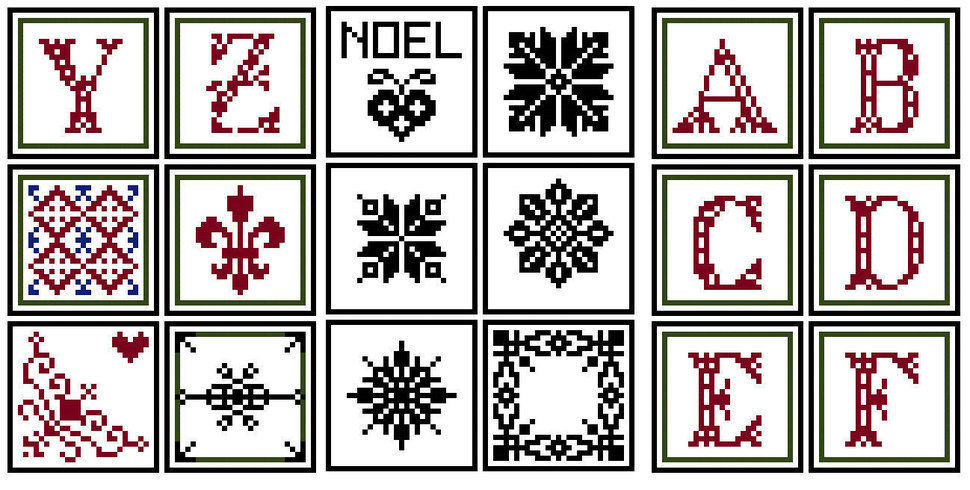 Christmas ornaments collection x 54 tiles - Cross stitch pattern. Instant download PDF.