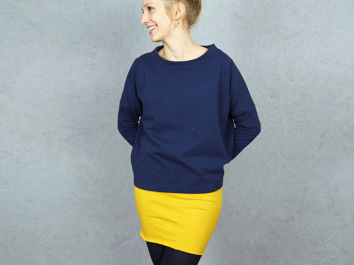 Madame ISA Pull avec col droit XS-XL - couture