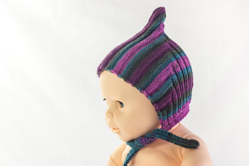 KNITTING PATTERN, Pixie Hat Pattern, Retro Style Hat, Knitting Pattern, Ribbed Hat With Tie-bands, Baby Hat, Toddler Hat, Kids Hat