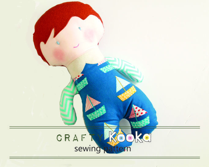 Rag doll sewing pattern tutorial, instant download pdf file - make your own boy rag doll - girl rag doll