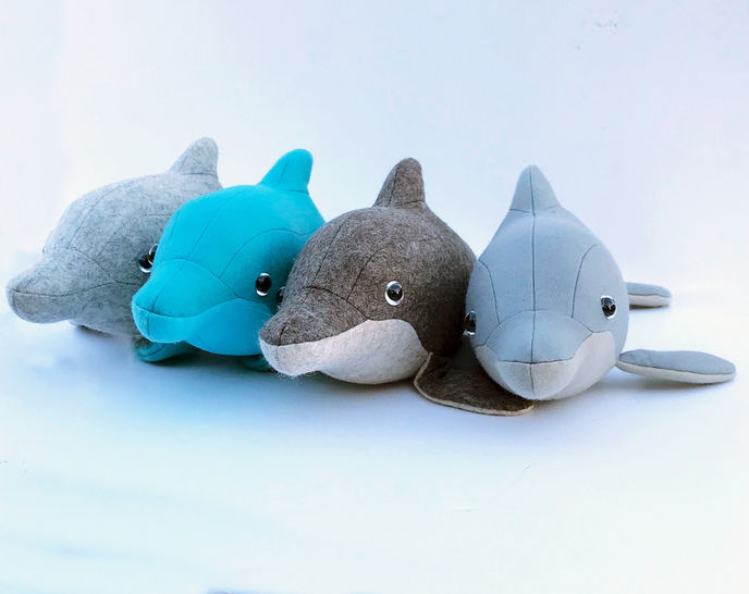 Dolphin sewing pattern, 3D soft toy