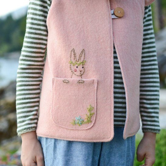 Woodland Bunny Embroidery Pocket - PDF Pattern