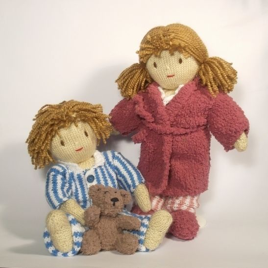 Time for Bed- Jesse and Josie Dolls - Knitting Pattern