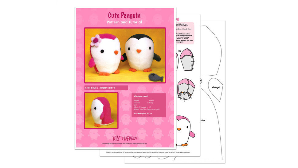 Penguin soft toy sewing pattern