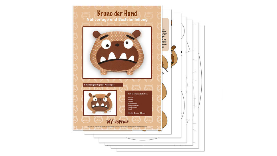Bruno the dog toy sewing pattern