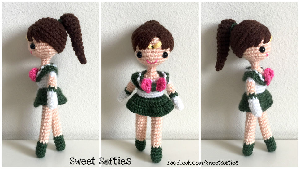 Sailor Jupiter Doll - Amigurumi Crochet Japanese Anime Manga Sailor Moon Plushie Plush School Girl Outfit Otaku Fan Geeky Nerdy Gift