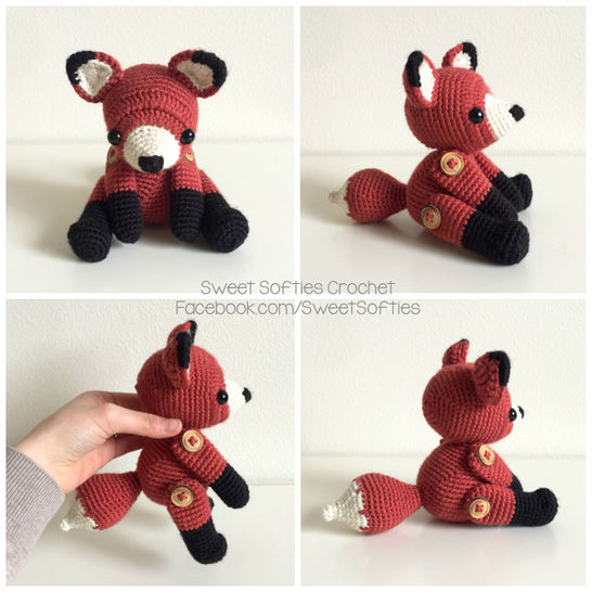Fletcher the Fox - Amigurumi Crochet Woodland Forest Stuffed Animal with Button Jointed Movable Limbs