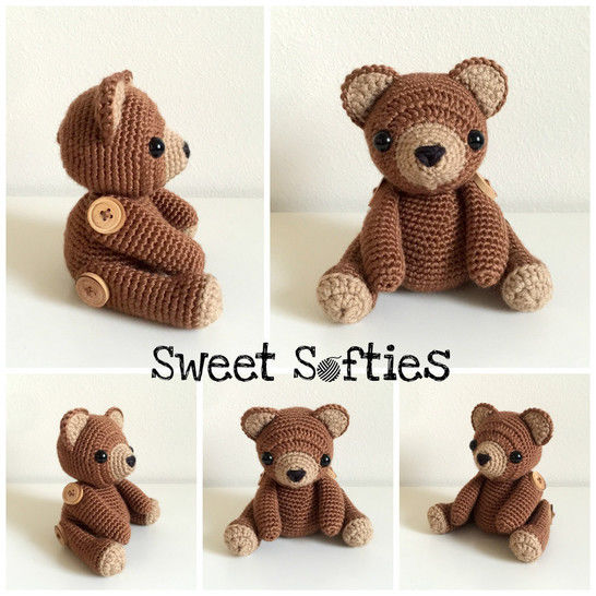 Brennan the Bear (Twee Toys Collectible Series) - Amigurumi Crochet Classic Teddy Bear Pattern Stuffed Animal Toy Gift Children Baby Nursery