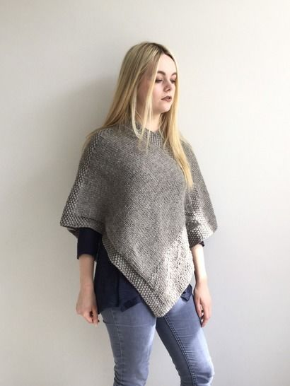 Knitting pattern - Jules Poncho - 2 Adult sizes - easy