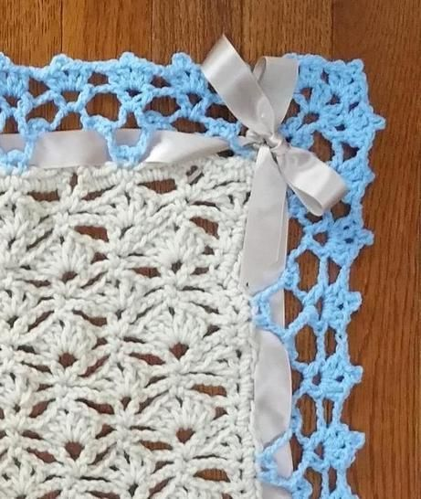 Lacey Blue and Tan Baby Blanket