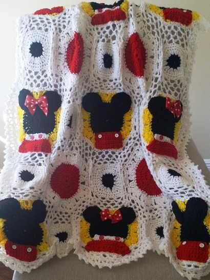 Mickey and Minnie Mouse Inspired Crocheted Baby Blanket pattern