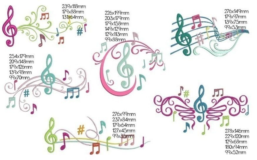 Stickdatei - Colorful Music Noten in PES