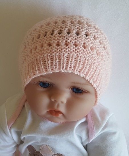 Baby's 4ply eyelet and purl st Beanie with rib brim - Abby