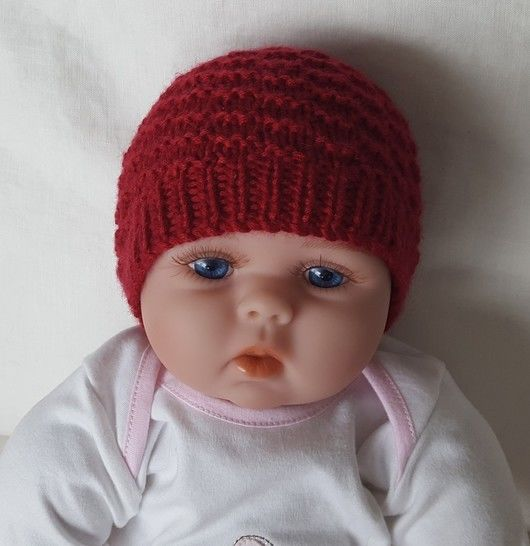 Baby's 8ply textured Beanie with rib band - Riley