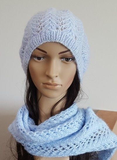 Lace Scarf and Beanie, sizes 2 years to Lady - Shelley