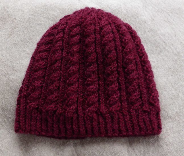 Cable and rib beanie in 8ply, sizes 2 years to Lady - Sally