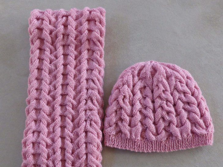 Cable Scarf and Beanie, sizes 2 years to Lady - Savannah