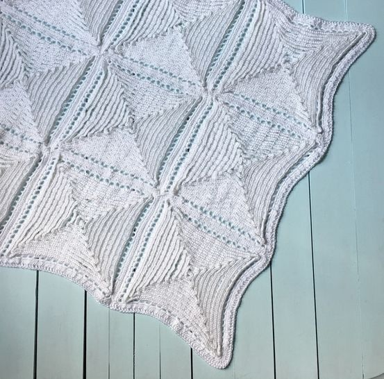 Crochet Baby Blanket Pattern (Floating on Clouds Christening Blanket)
